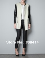 European popular women fashion leather and woolen patchwork coat jacket Free shipping