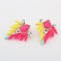 Free shipping Fashion hot-selling trend of fashion vintage gorgeous multicolour neon gem DROP earring women earrings YWJR2028