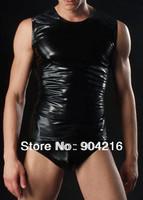 Fashion Sexy Men's Vest Top Underwear Male's Vest Faux Leather Jacket Undershirt Nightwear Black Sleepwear Free Shipping#C47
