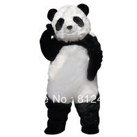 Hot Long Hair Panda Mascot Costume Adult Size Cartoon Character Costumes Fancy Dress Suit Free Shipping