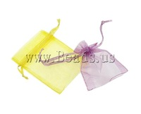 Free shipping!!!Jewelry Drawstring Bags,Bulk Jewelry, Organza, translucent, mixed colors, 19x30cm, 500PCs/Bag, Sold By Bag
