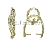 Free shipping!!!Brass Pinch Bail,Cheap Jewelry Wholesale, gold color plated, with rhinestone, nickel, lead & cadmium free