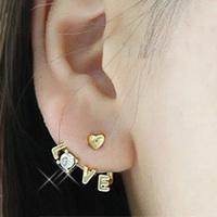 Free Shipping Korea Style Gold Plated Clear Rhinestone Heart Love Letter Ear Stud Earring