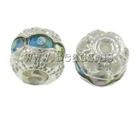 Free shipping!!!Brass Jewelry Beads,2013 new famous fashion brand, Drum, silver color plated, with rhinestone & hollow, nickel