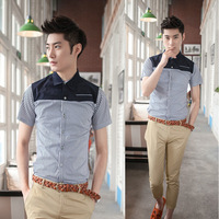 2013 Men's Shirt Casual Slim fit Stylish Short Sleeve Shirt Luxury US size XS,S,M,L Black, White, PurpleFree shipping
