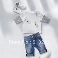 Retail, fashion 2013 autumn summer white children's clothing brand boys 2pcs set T shirt + jeans set children boy