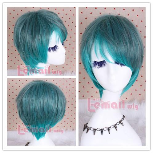 O envio gratuito de Harajuku amantes gradiente de cor de pavão homens verdes stubbiness de punk peruca cosplay(China (Mainland))