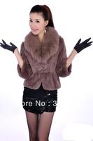 Free shipping Sexy women's party luxury autumn winter fox fur collar coat , hot sale lady rabbit fur clothing,women's overcoat