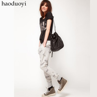 Womens loose hip hop sports pants with bat print and pocket  decoration for wholesale and freeshipping