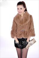 Temperament genuine rabbit fur coat with fox fur collar for sexy fashion ladies free shipping