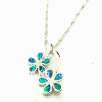 Free shipping 45cm 1pcs/lot Fashion Copper White Gold Plated Necklace Pendants Australian Blue Fire Opal Jewelry Pendants HB939