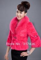 Free shipping geniune red short fox fur collar rabbit fur jacket coat for elegant ladies