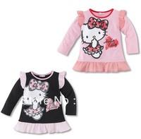 Free Shipping 10pcs/lot Hot Kids girls hello kitty T shirts hoodies baby girls sweatshirts kids long sleeve clothes wholesale