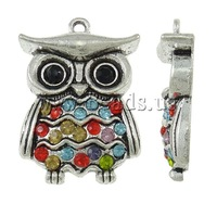 Free shipping!!!Zinc Alloy Animal Pendants,Jewelry Making, Owl, antique silver color plated, with rhinestone, nickel