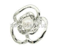 Free shipping!!!Freshwater Pearl Brooch,2013 fashion free shipping, Cultured Freshwater Pearl, with Zinc Alloy, Flower