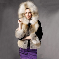 Unique Luxury Genuine the Golden Island Fox Fur Short Coat With Rex rabbit Fur Woman Hoody Outwear Free Shipping XXXL