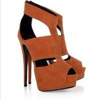 New arrivals nice black brown cut out women solid color dress shoes fashion ladies party sexy high heels sandals hot sale WS0944