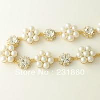 1yd Clear Glass Rhinestone Crystal Ivory Faux Pearl Applique Costume Sewing Trim