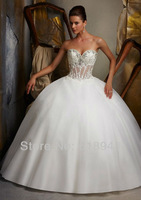 2013 Free Shipping New Style Glamorous Sweetheart Beaded Ball Gown Organza Sexy Novelty Luxury Wedding Dresses CM0265