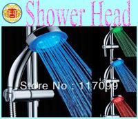 High quality LED Shower Head,Temperature Sensor Shower Head,Romantic 3 Rain colors Home Bathroom showers
