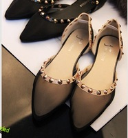 2013 new women shoes white gauze pointed breathable baotou flat sandals shoes with flat sole