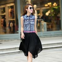 2013 new lady turn-down collar with diamond brief denim vest one-piece dress, takedown demountable dress.
