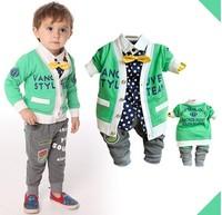 2014 free shipping Retail 1 set Top Quality!baby boy jacket+shirt+pants 3 pcs/suits boy fashion gentleman clothing sets in stock