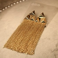Min order $18 (can mix ) Fashion punk gold plated  triangle tassel drop earring