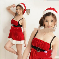 Free Shipping high quality   women  red dress sexy Christmas  fashion cosplay with belt  girl  halloween  costumes good looking