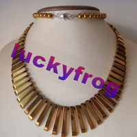 Hot New Arrival handmade charming gold golden Hematite set necklace 27inches wholesale Free Shipping