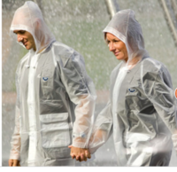 Fashion pvc translucent scrub long design fashion team raincoat adult male Women