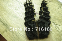 Cheapest Malaysian curly virgin Human hair,Lace Top Closure 4x4 Deep Wave Middle Part Bleached Knots Free Shipping