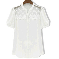2013 summer fashion lace chiffon shirt top women's  high street free shipping 8.6