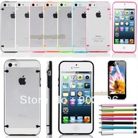 Ultra-Thin Glossy Hard Case Cover Shell For Apple iPhone 5 5G+Free Gift Stylus+ Screen Protective Film