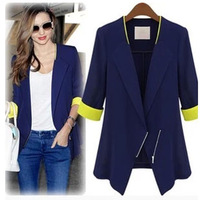 Women's summer 2013 chiffon small suit jacket female thin three quarter sleeve slim suit  high street free shipping 8.6