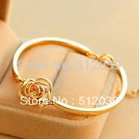 2014 NEW Fashion Good Quality New Vintage Fashion Design Jewelry Rose Gold Camellia Zircon Bracelet Bangle For Women Accessories
