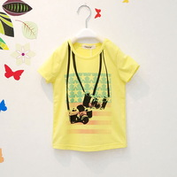 Children's clothing child summer male 2013 t-shirt child short-sleeve suspenders camera ploughboys