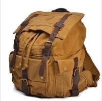 Men's male Vintage Canvas Leather Backpack Rucksack Satchel Military Sport bag B104