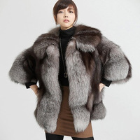 Luxury Korea Style Genuine Thewhole Leather Silver Fox Fur Coat Female Fox Outwear Jackets Russia Parka Free Shipping