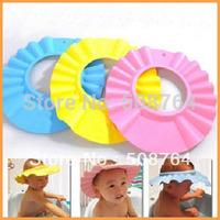 10Pcs/Lot Foam Soft Child Kid Shampoo Bath Shower Wash Hair Shield Cap Hat ,Yellow / Pink / Blue Drop Shipping