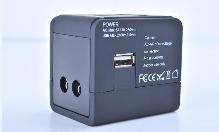 Good quality universal travel adaptor USB port, 2100mA free shipping(China (Mainland))