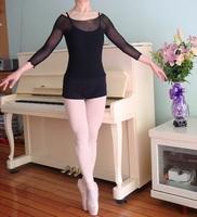 Ballet dance raglan sleeve three quarter sleeve elastic mesh basic top