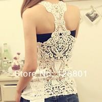 Free shipping Korea Women's Tank Top Shirt Hollow-out Vest Waistcoat Camisole Pierced lace