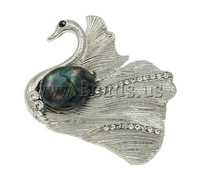Free shipping!!!Freshwater Pearl Brooch,Female Jewelry, Cultured Freshwater Pearl, with Zinc Alloy, Swan, platinum color plated