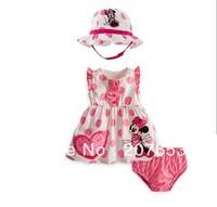 free shipping 5sets /lot  children clothing set girls summer clothing set minnie mouse  t-shirt +hat+shorts