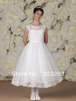 A Line Puffy Lace Organza Little Queen Flower Girl Dresses for Weddings Tea Length White Communion Party FN111