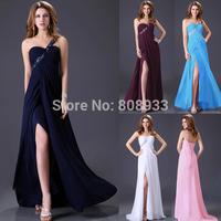 Free Shipping 1pc/lot Grace Karin Modest One Shoulder Beadings Long Bandage Formal Evening Dress CL3186
