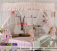 Princess bed square zipper mosquito net totally enclosed laciness paragraph mosquito net encryption net fabric
