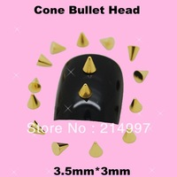 100pcs/pack Punk Rock Metal Alloy Gold Cone Bullet Head Spike Studs Rivet Salon 3D Nail Art Tips Phone Design Decoration