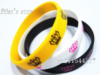 Free Shipping Yellow&Black&White CROWN  Silicone Bracelets wristband charm for women  Lots Mix color